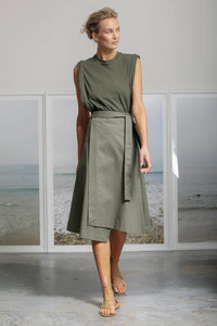 Heidi Merrick Folded Skirt in Militare