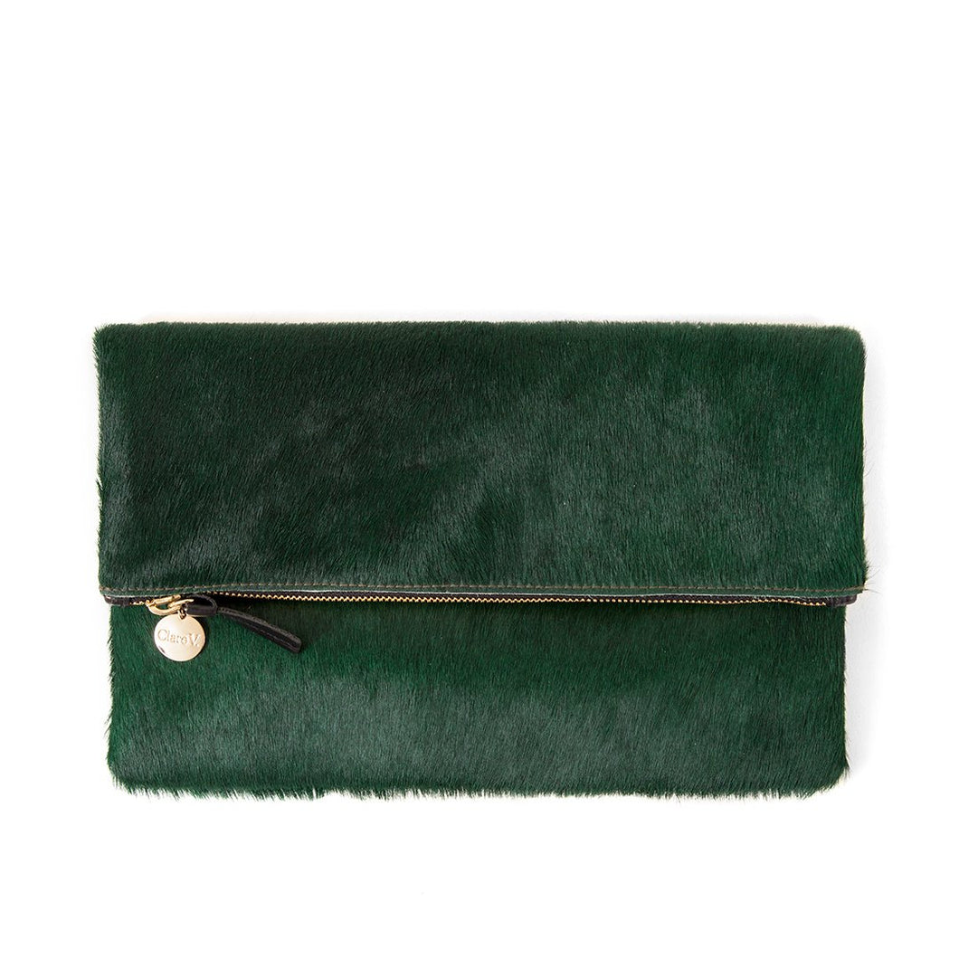 Clare V Foldover Clutch in Bottle Green