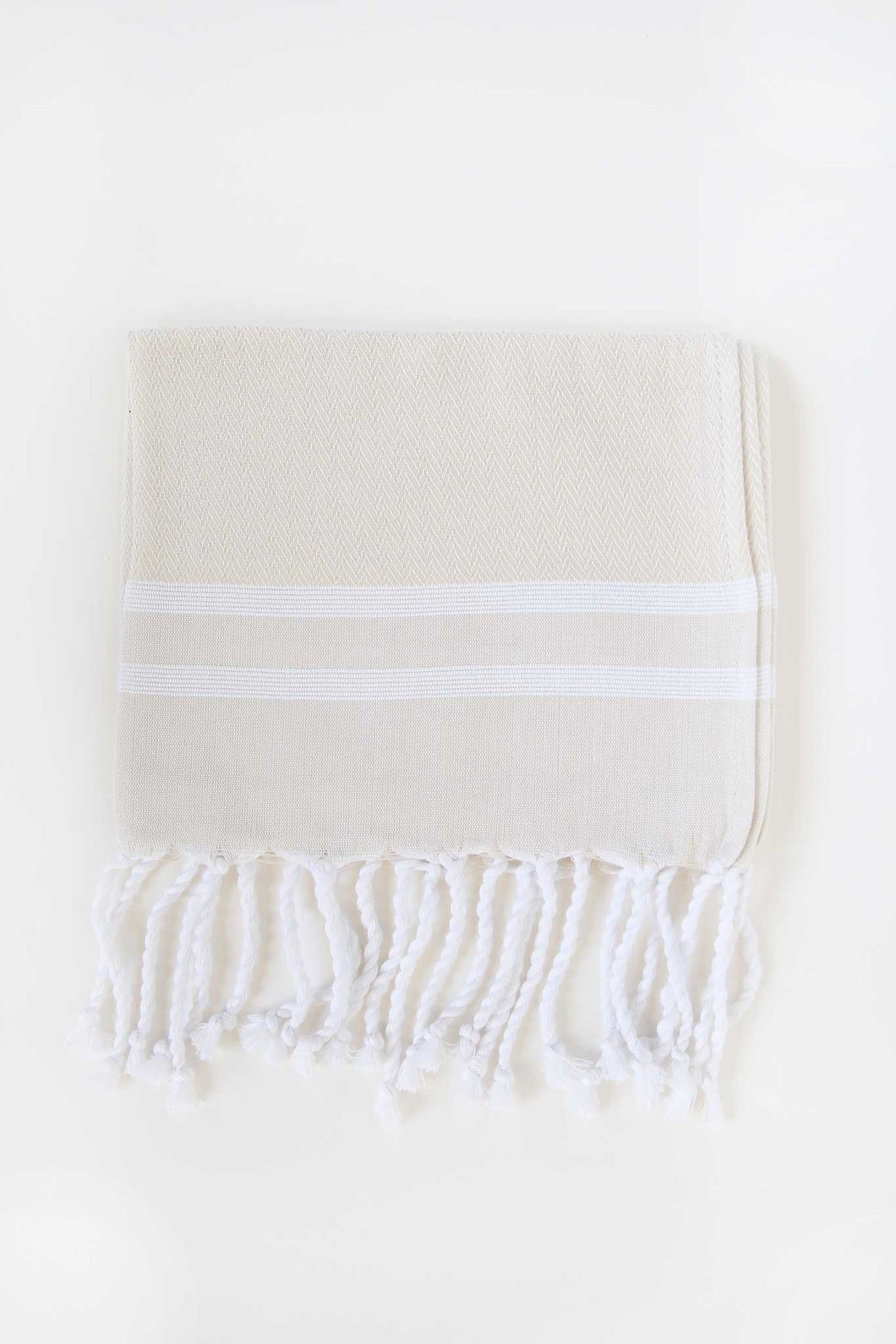 Turkish Guest Towel Herringbone Stripe in Cream