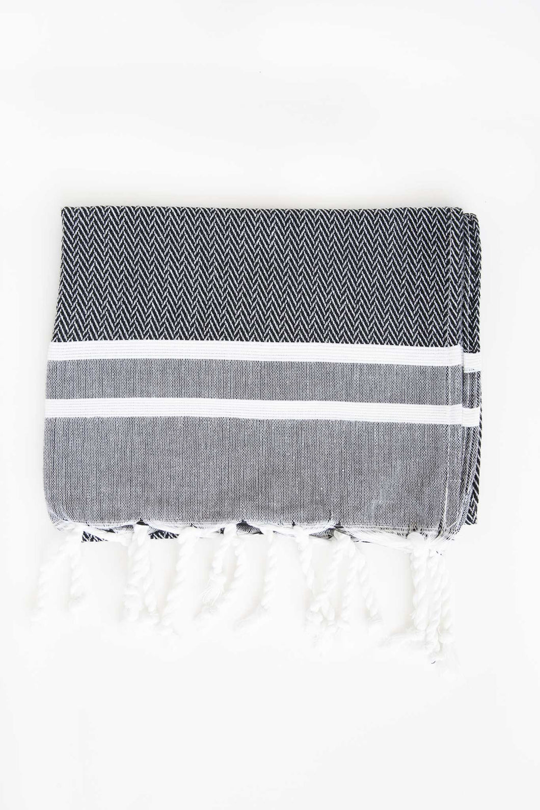 Turkish Guest Towel Herringbone Stripe in Grey