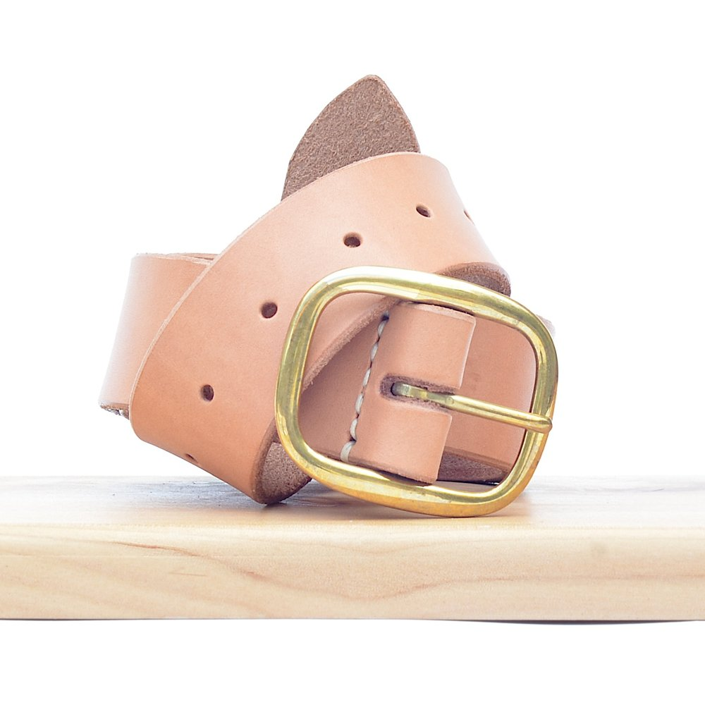 Made Solid Leather Belt in Natural