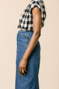 CARLEEN Long Lindsay Skirt in Denim