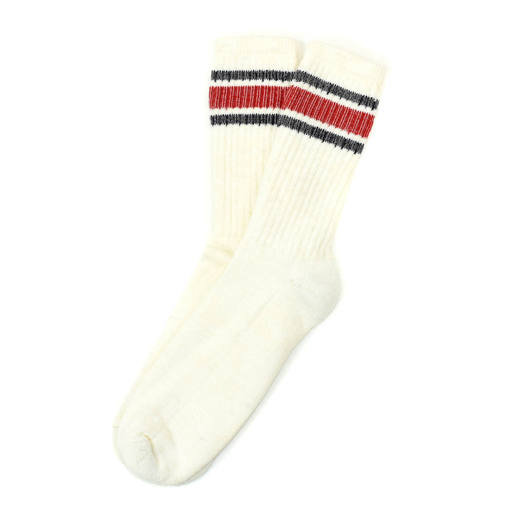 American Trench Merino Activity Sock in Navy/Red Stripe