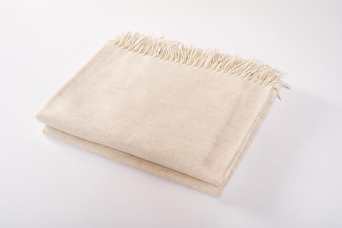 Harlow Henry Merino Wool Throw in Oatmeal