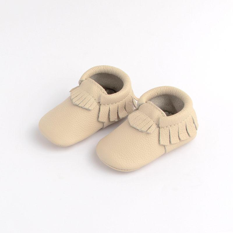 mini sole fringe baby moccasins birch
