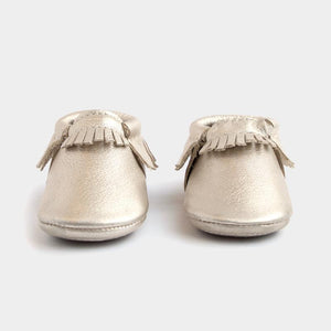 mini sole fringe baby moccasin platinum