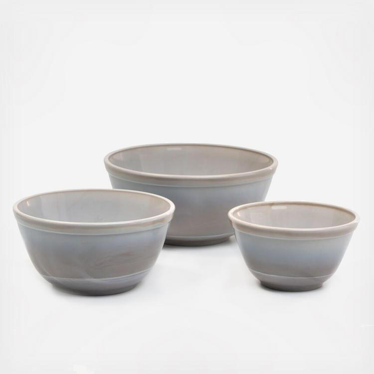 Mosser Glass Mixing Bowl Set Marble Grey