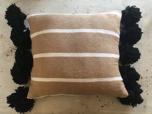 Moroccan Pom Pom Pillow Wide Tan & White Stripe