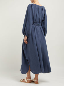 Loup Charmant Peasant Tunic Midi in Slate Blue