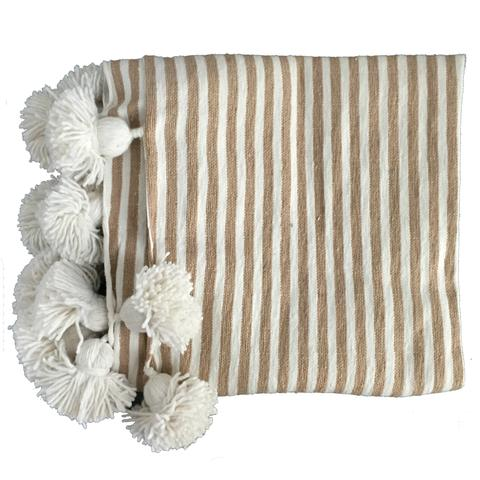 Moroccan Pom Pom Throw Tan & White Stripe