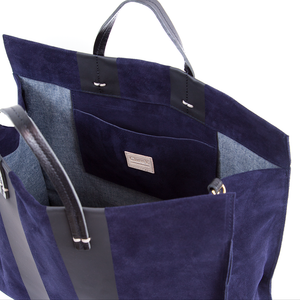 Clare V Simple Tote in Navy with Black Racing Stripes