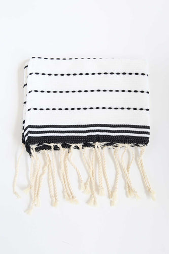Turkish Guest Towel in Black and White Stitches