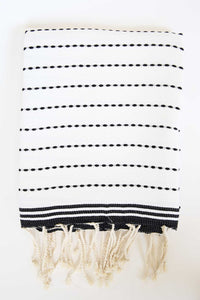 Turkish Towel in Black and White Stitches