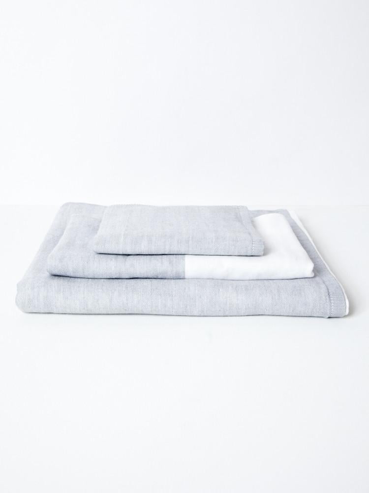 Japanese Two-Tone Chambray Towel in Light Grey