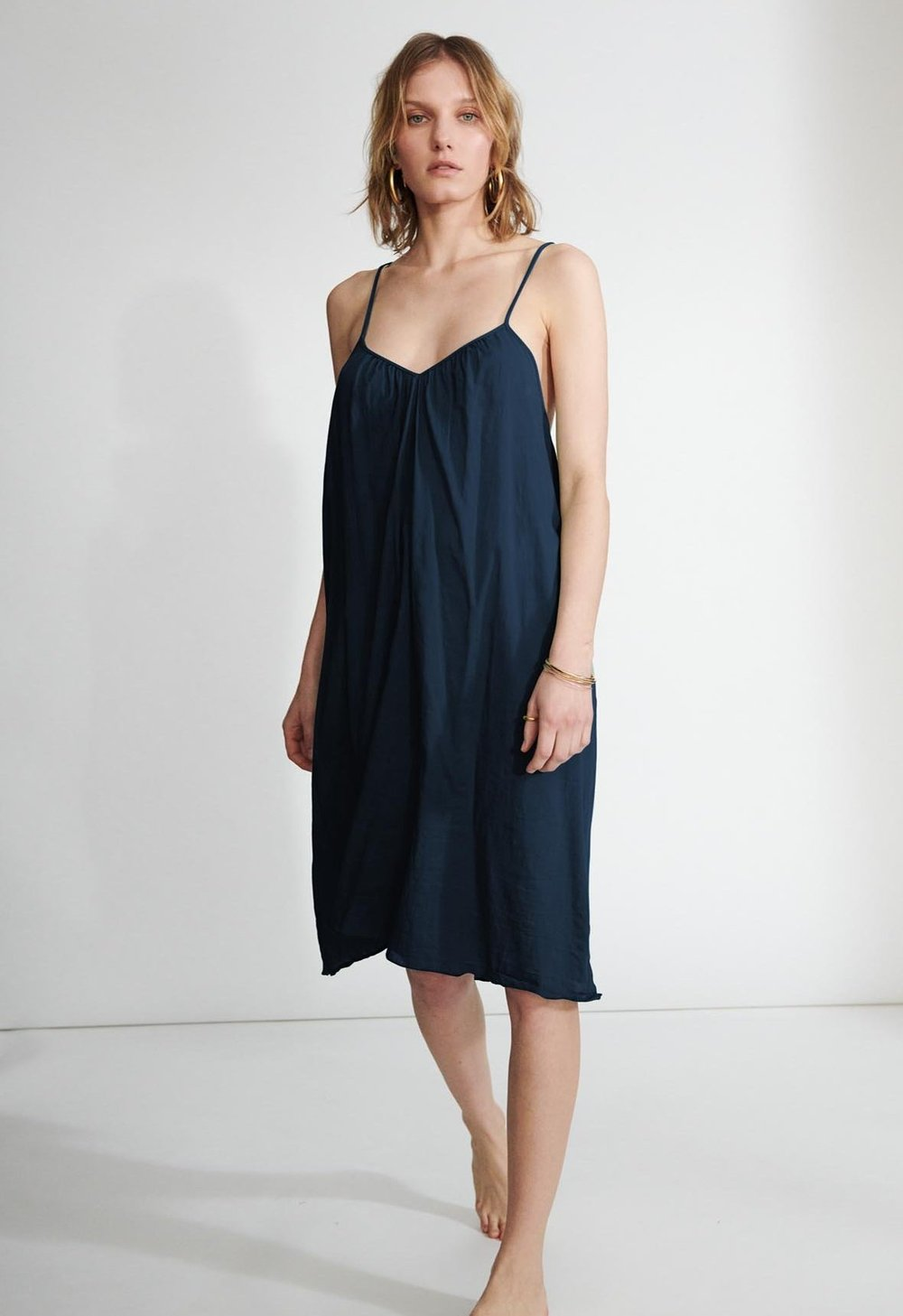 Loup Charmant V Neck Cotton Slip in Midnight