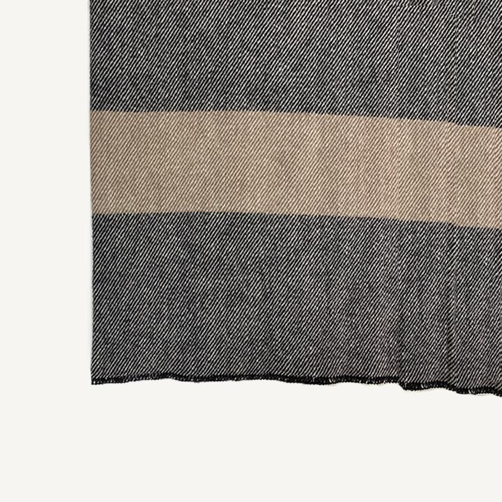 Virgin Wool Blanket in Black and Taupe Stripe