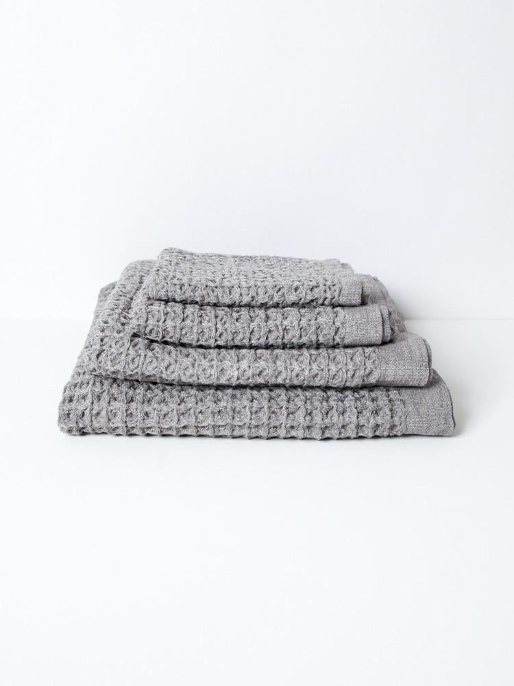 Japanese Lattice Waffle Towel in Grey