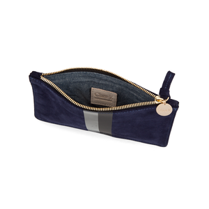 Clare V Wallet Clutch in Navy Suede