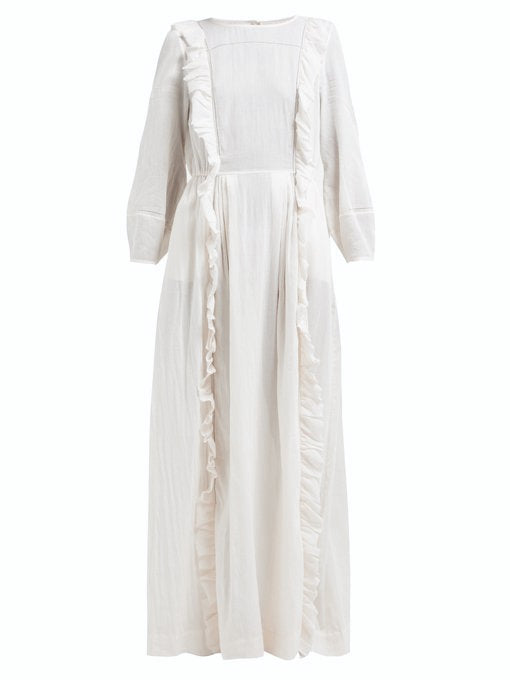Loup Charmant Cotton Wallice Dress in White