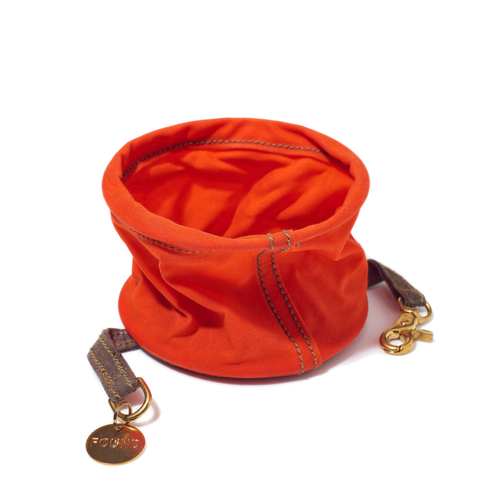 Found Orange Waxed Cotton Canvas Collapsible Water Bowl