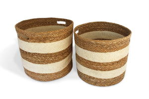 Round Cream and Jute Striped Basket