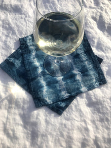 indigo linen cocktail napkins