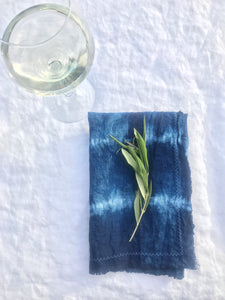 indigo linen dinner napkins stripes