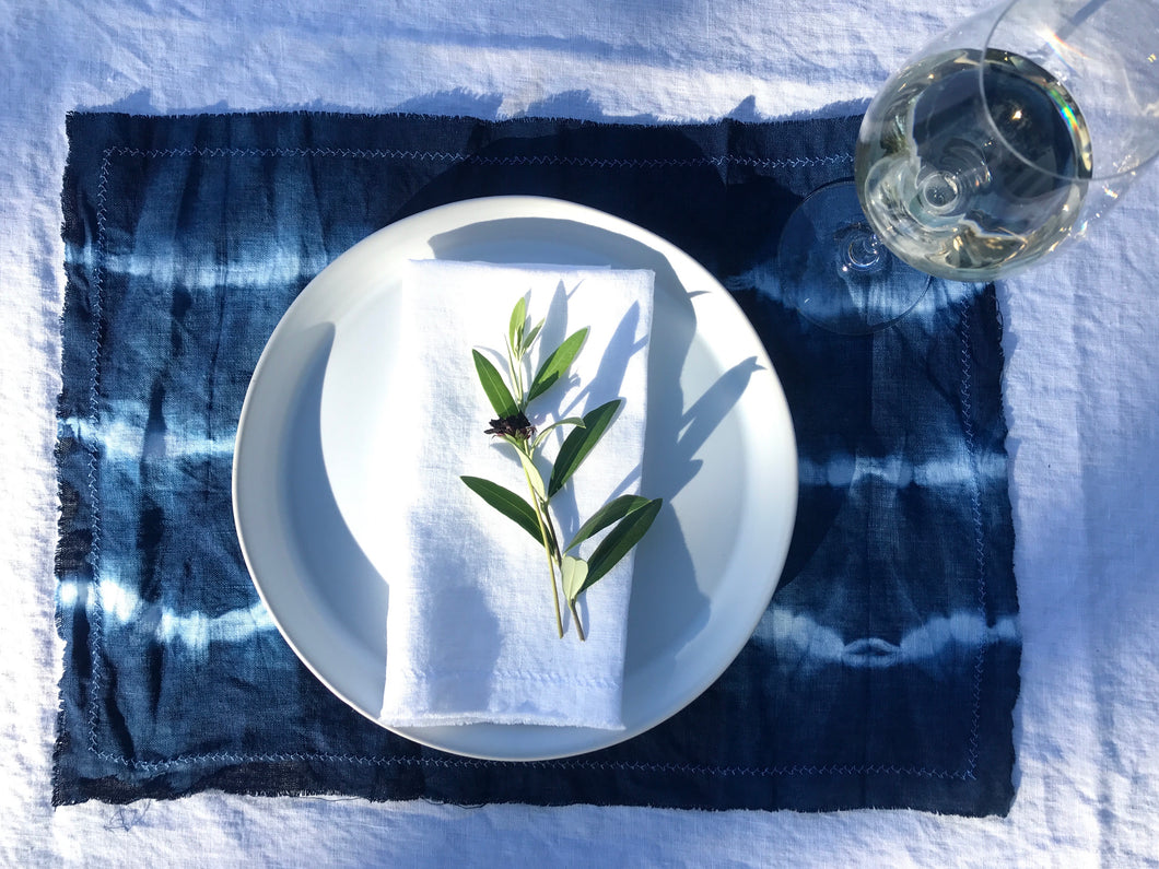 indigo linen placemats stripes