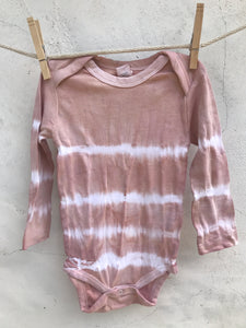 natural dyed long sleeved onesie blush stripes