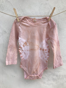 natural dyed long sleeved onesie blush bursts