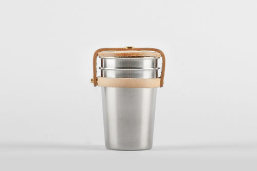 Yield Design Steel & Leather Cup Set