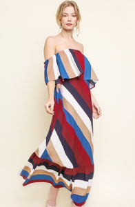 Multicolor Striped Maxi Dress