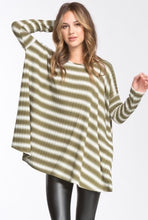 Olive + White Striped Rippled Top