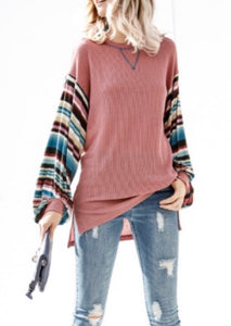 Thermal Knit Rainbow Sleeve Top