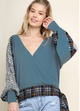 Teal Printed Cross Over Knot Top