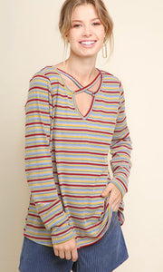 Red Mix Criss Criss Top