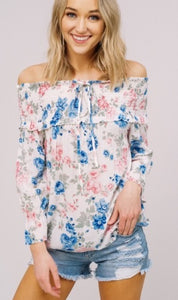Ivory Floral OTS Top