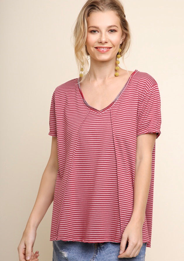 Berry Striped Top