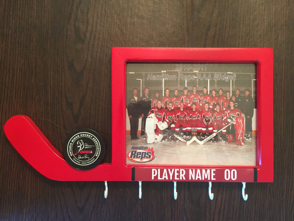 Hockey Night Picture Frame Personalized with Puck and 5 Medal Holders