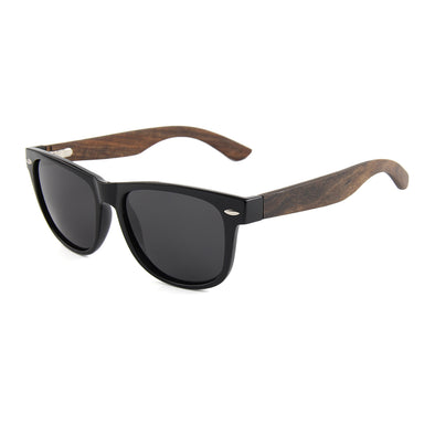 Daly Collection Ebony Wood Sunglasses with Smoke Polarized Lens