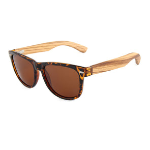 Daly Collection Zebra Wood Sunglasses with Brown Polarized Lens