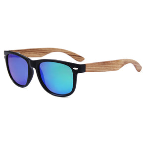 Daly Collection Zebra Wood Sunglasses with Green Polarized Lens
