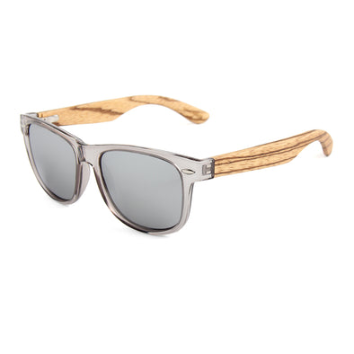 Daly Collection Zebra Wood Sunglasses with Silver Polarized Lens