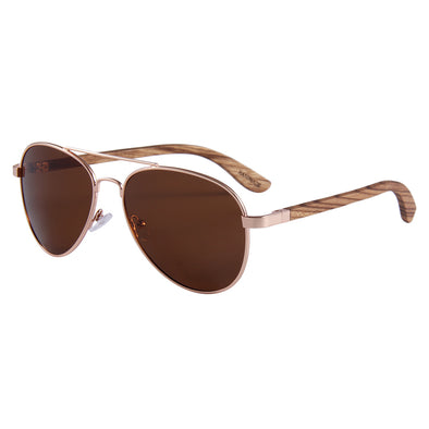 Aviator(Zebra Wood) Brown Polarized Lens