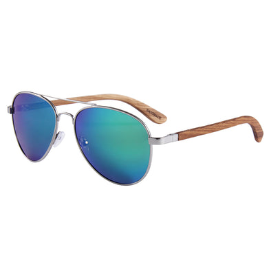 Aviator (Zebra Wood) Green Polarized Lens