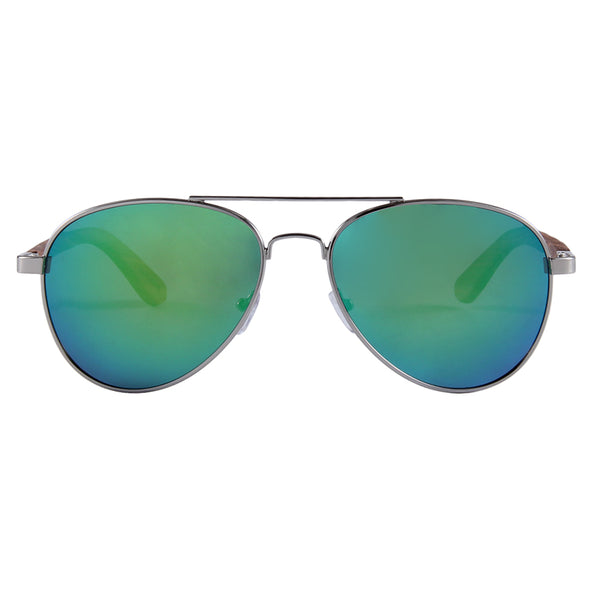 Zebra Wood Sunglasses Aviator Style with Green Polarized Lens