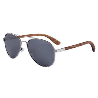 Aviator (Zebra Wood)  Silver Mirror Polarized Lens