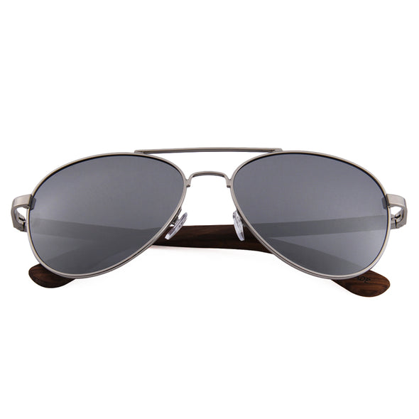 Zebra Wood Sunglasses Aviator Style with Silver Polarized Mirror Lens