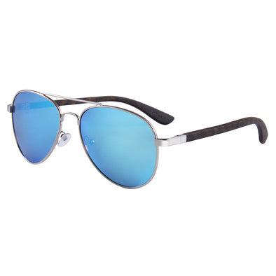 Ebony Wood Sunglasses Aviator Style with Blue Polarized Lens