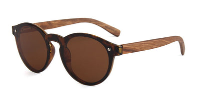 Shelly Collection Zebra Wood Sunglasses with Tortoise Acetate Frame